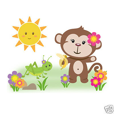 Jungle Monkey Wall Art Mural Decal Baby Girl Nursery Safari Animal Sticker Decor