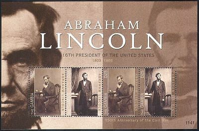 Gambia 2011 Abraham Lincoln/Politics/Politicians/People/History 4v m/s (n40855)
