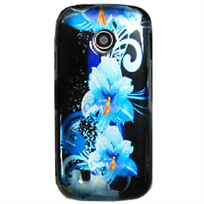 For Verizon LG VN270 Cosmos Touch Attune 505C Snap On Case Cover Blue Flower
