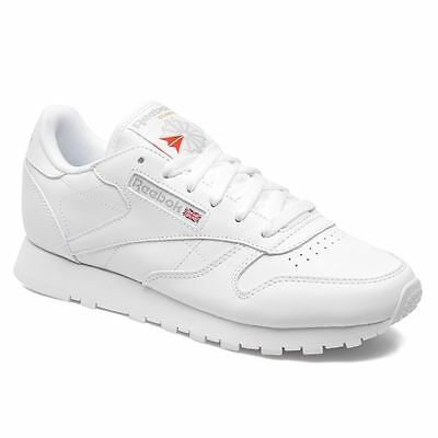 Reebok Classic Leather White Boys Girls Youths Lowtop Trainers Sneakers