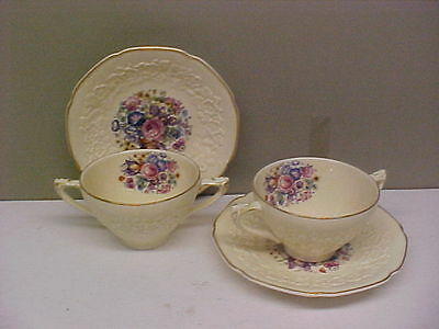 Crown Ducal China GAINSBOROUGH Two Bouillon Cup & Saucer Sets