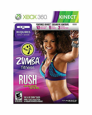 XBOX 360 KINECT ZUMBA FITNESS RUSH NEW VIDEO GAME SHED THE POUNDS FEEL THE RUSH