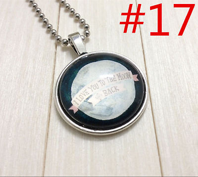 """Handmade""""I LOVE YOU""""metal/glass necklace gift for family.lovers chain 17''#BB17"""