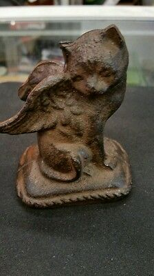 """Vtg 1920's Cast Iron Cat Angel Paperweight Figurine Wings 3.5"""""""