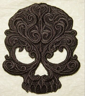 Black  BAROQUE GOTHIC SKULL Embroidered Iron On Patch - 5.25 X4.5
