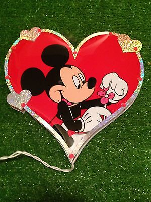 """New Valentine's Day 12"""" DisneyLighted Heart Mickey Mouse Window/Wall  Decoration"""