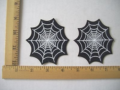 NEW LOT OF 2 SPIDERWEB IRON ON PATCHES