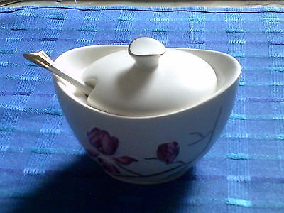 CARLTONWARE BRITISH IRONSTONE HAND PAINTED OVAL SHAPED LIDDED JAM POT AND SPOON