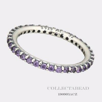 Authentic Pandora Sterling Silver Forever Purple CZ Ring Size 54 (7) 190903ACZ