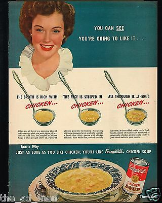 1947 CAMPBELL'S CHICKEN SOUP VINTAGE LAMINATED AD ART