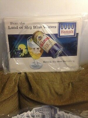 Hamms beer new bar issue tin metal beer sign