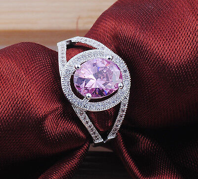 Fashion Oval  cut  pink ruby gemstones 925 sterling silver  ring size8  M313
