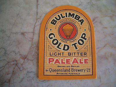 Bulimba Gold Top Beer Label Brisbane Australia Unused