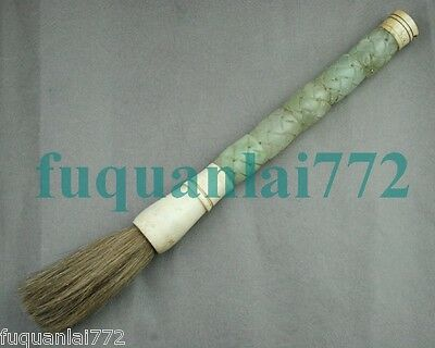 CHINESE Carved Green Jade Design Scholar Calligraphy Art Brush Pen 13in