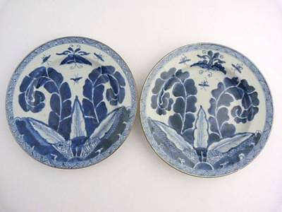 PAIR OF CHINESE BLUE AND WHITE PORCELAIN TOBACCO LEAF PLATES, KANGXI circa 1700