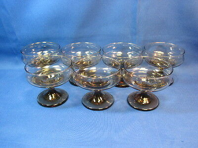 Clear Brown Crystal Margarita or Desert Glasses. Set of 7.