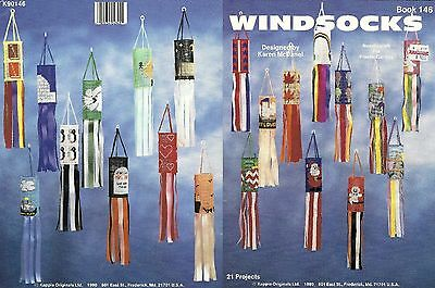 WINDSOCKS 21 Projects Plastic Canvas Book 146 Santa Easter Patriotic Penguin ++