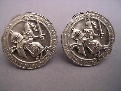 SET OF FABULOUS KNIGHT ON THE HORSE NEW OLD STOCK VINTAGE CUFFLINKS SILVER 24 mm