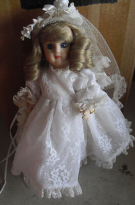 """Cute Joy 81 MArked Jointed Porcelain Bisque Bride Character Girl  Doll 9"""" Tall"""