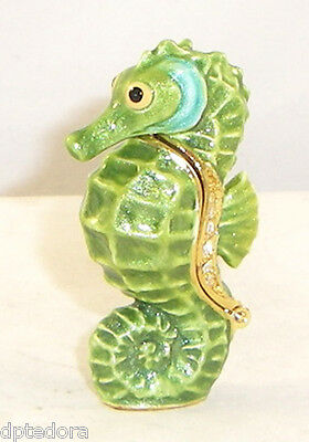 MINIATURE EVERGREEN SEAHORSE PEWTER  BEJEWELED HINGED TRINKET  BOX