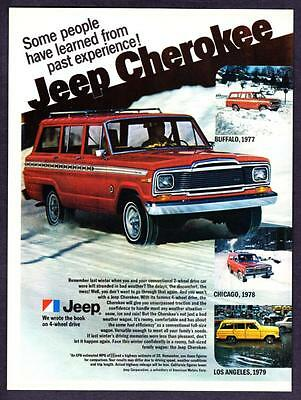 """1980 Jeep Cherokee 4x4 in Snow photo """"Learn from Past Experience"""" print ad"""