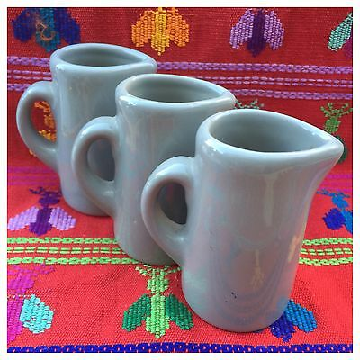 3 H.F. Coors China Individual Creamer Syrup Pitcher Chefsware Brown Vintage USA