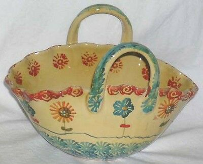 Ita Lica Ars Handled Basket Serving Bowl Hand Painted Farm House Decor Italy New