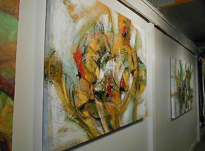 """Large 36x48""""  ABSTRACT Red Black Gold Green White Oversize Giant Painting Looney"""