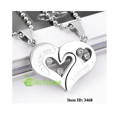 Men's Stainless Steel Love Heart Jigsaw Chain Pendant Necklace Item ID:3468