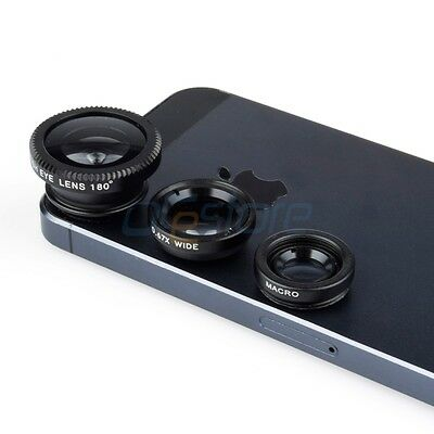 Black 3in1 Detachable Wide Angle+Macro+Fish Eye Clip Lens for iPhone 4S 5S 6 6+