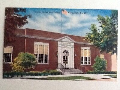 PA- Honesdale Vintage 1940's View Of US Post Office Linen Finish Old Postcard