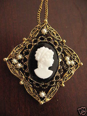 Vintage Square Cameo Pin Gold Plated Necklace Pendant Faux Pearl Antique style