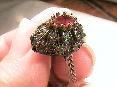 VINTAGE ANTIQUE RUBY SILVER RING 8 MEDIEVAL NATURAL SAPPHIRE STERLING 925