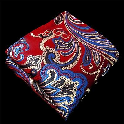 Men's Hanky Pocket Square Hankies Silk Handkerchief MH23 Paisley Red Blue Silver