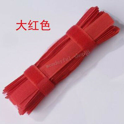 New Hot 7PCS Red Universal Computer Velcro Cable Tie Holder Organizer Trim