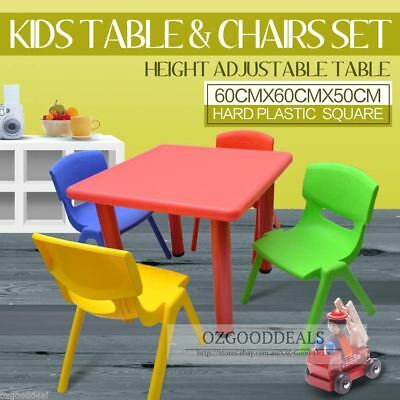 Kids Toddler Children Square Activity Table and 4 Chair Chairs Red 60x60cm S