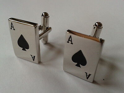 CUFFLINKS - PLAYING CARD ACE OF SPADES (BRAND NEW IN BLACK VELVET GIFT POUCH)