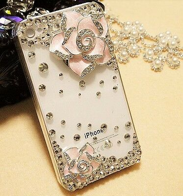 """Cute3D Bling Pink camellia Protection hard Case cover for iPhone 6 4.7""""  K852"""