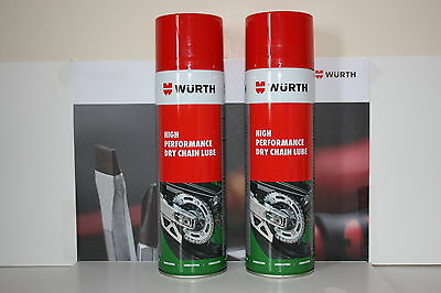 Wurth Dry Chain Lube High Performance 500ml x 2 The Best No Fling Lube There is.