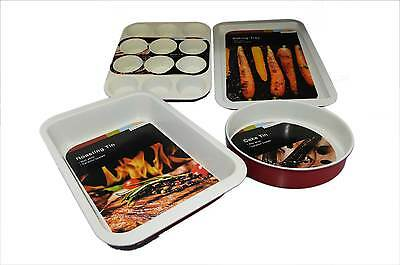Set of 4 High End Professional Ceramic Coated Red Baking Bakeware Non Stick