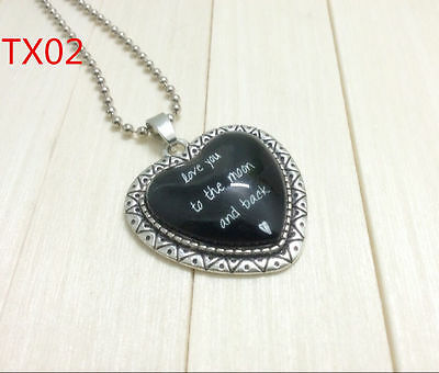 """Handmade""""I LOVE YOU""""metal/glass heart necklace for family.lovers 17''#BB35"""