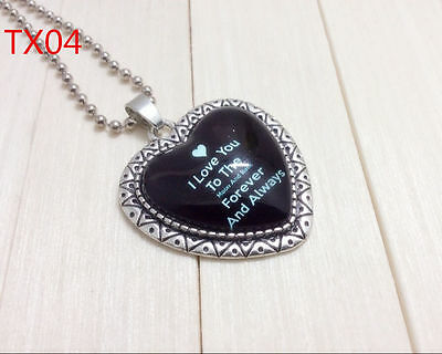 """Handmade""""I LOVE YOU""""metal/glass heart necklace for family.lovers 17''#BB37"""