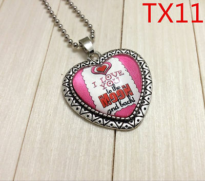 """Handmade""""I LOVE YOU""""metal/glass heart necklace for family.lovers 17''#BB44"""