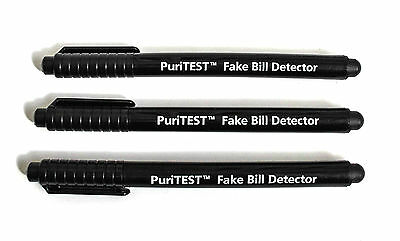 3 Pack Banknote Counterfeit Bills Checker Fake Money Detector Tester Pen Marker