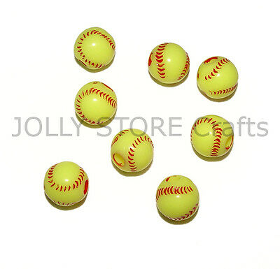 60 Softball Beads for school sports jewelry necklaces bracelets kids crafts