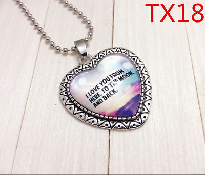 """Handmade""""I LOVE YOU""""metal/glass heart necklace for family.lovers 17''#BB51"""