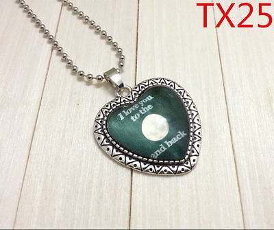 """Handmade""""I LOVE YOU""""metal/glass heart necklace for family.lovers 17''#BB58"""