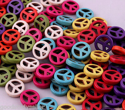 30 pcs Loose mixed color Turquoise Peace sign spacer beads charms 15mm