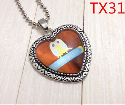 """Handmade""""I LOVE YOU""""metal/glass heart necklace for family.lovers 17''#BB64"""