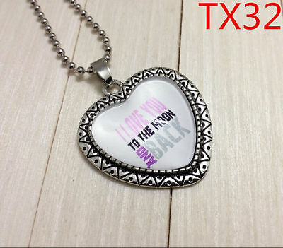 """Handmade""""I LOVE YOU""""metal/glass heart necklace for family.lovers 17''#BB65"""